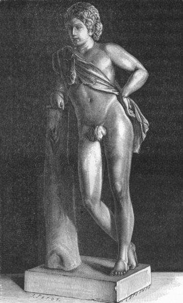 ROME. Faun after Praxiteles 1872 old antique vintage print picture