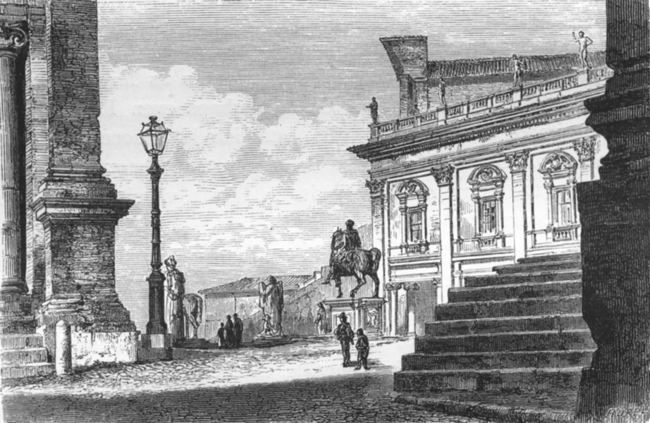 Associate Product ROME. Piazza of Capitol. Gallery Antiques 1872 old print picture