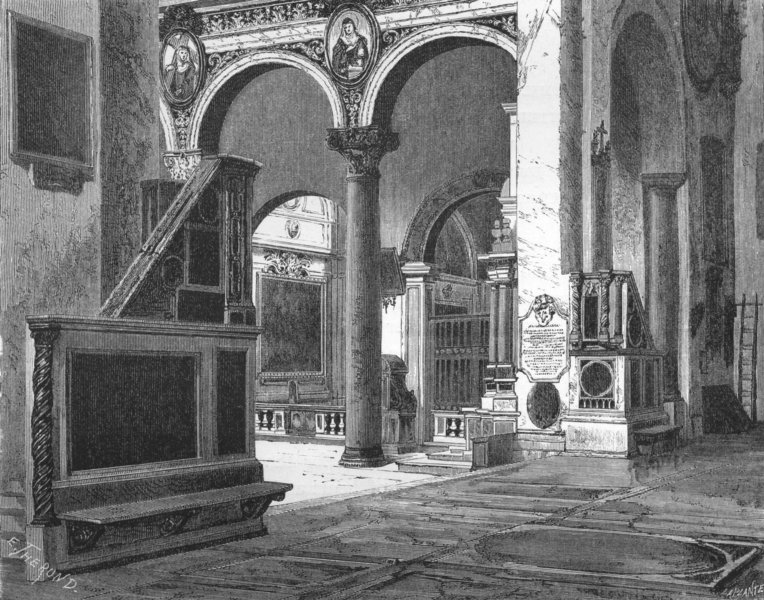 Associate Product ROME. Church of Sta Maria in Aracoeli 1872 old antique vintage print picture