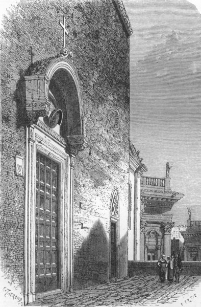 Associate Product ROME. Principal door of the Aracoeli 1872 old antique vintage print picture