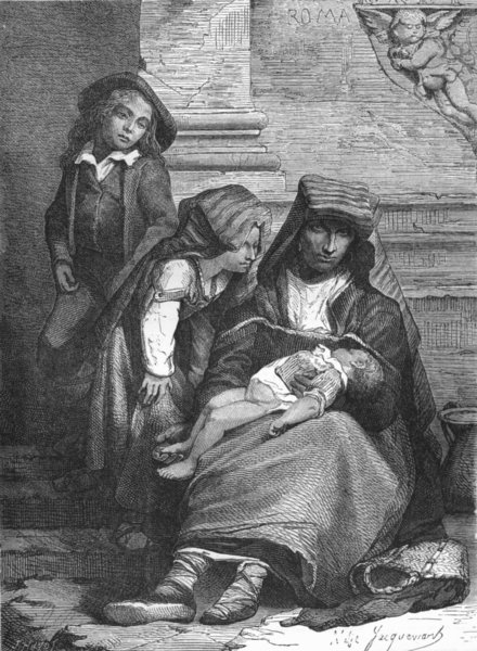 Associate Product ROME. Family of Beggars 1872 old antique vintage print picture