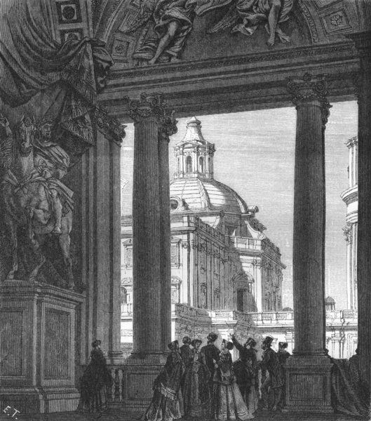 Associate Product ROME. Under Portico of St Peter's(side Sacristy) 1872 old antique print