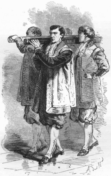 Associate Product ROME. The Pope's Bearers 1872 old antique vintage print picture