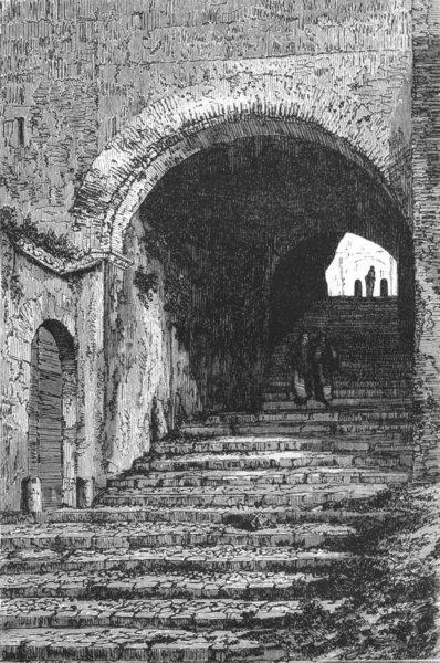Associate Product ROME. Vaulted Passage, Lucrezia Borgia's palace 1872 old antique print picture