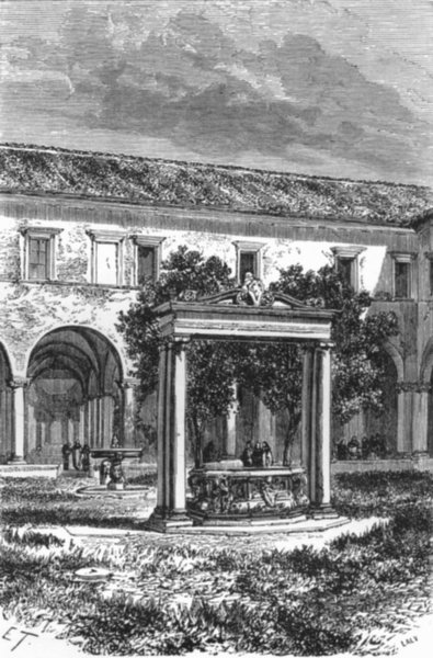 Associate Product ROME. Well, Cloister of San Pietro in Vincoli 1872 old antique print picture