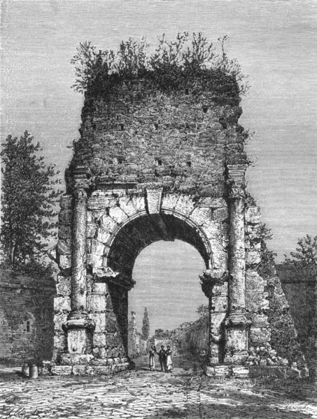 Associate Product ROME. Arch of Drusus 1872 old antique vintage print picture