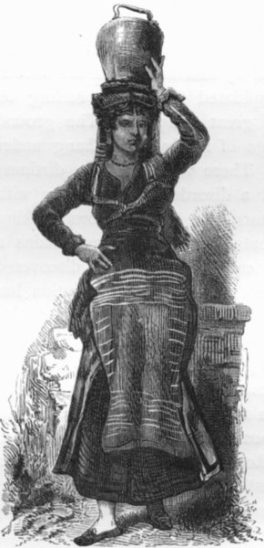 Associate Product ROME. A bronzed maiden ' 1872 old antique vintage print picture