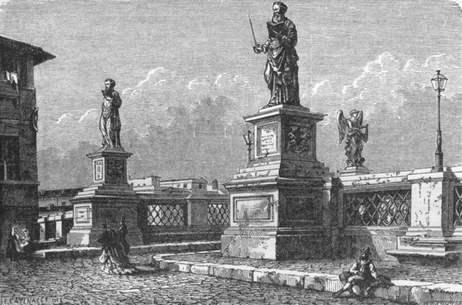 Associate Product ROME. St Peter & Paul, Bridge of Sant'Angelo 1872 old antique print picture