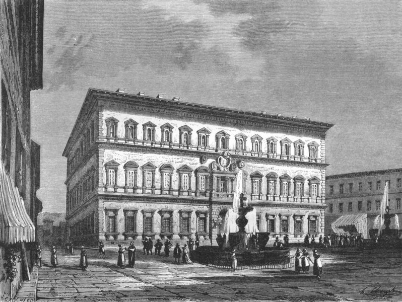 ROME. The Farnese Palace 1872 old antique vintage print picture
