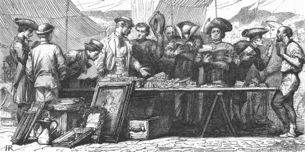 Associate Product ROME. Brokers & Bookworms in open air 1872 old antique vintage print picture