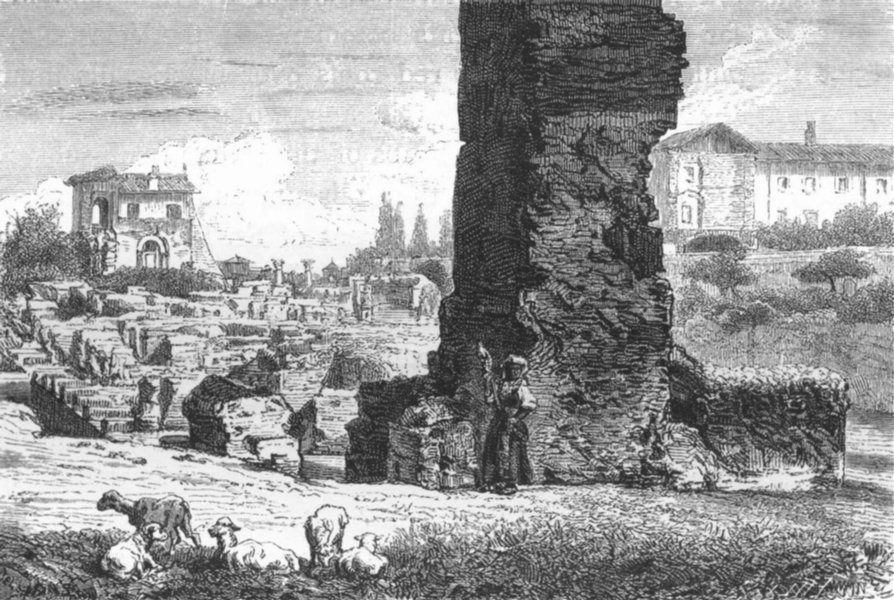 Associate Product ROME. Remains of Public Palace & Loggia Farnese 1872 old antique print picture