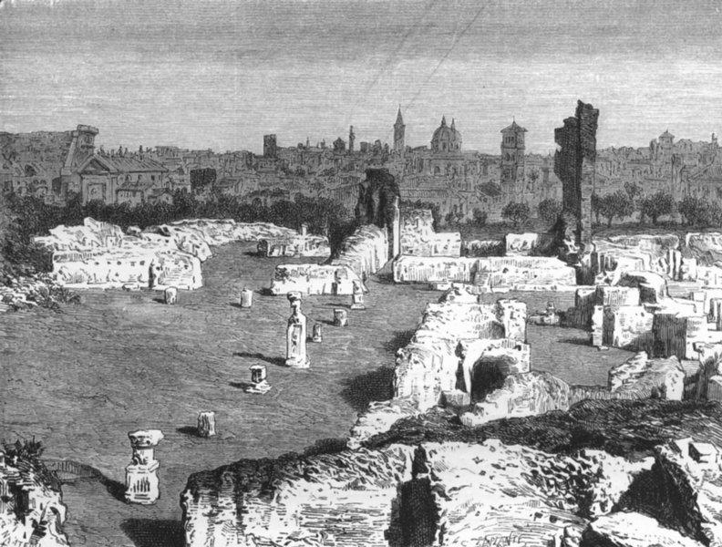Associate Product ROME. Remains of Public Palace Domitian 1872 old antique vintage print picture