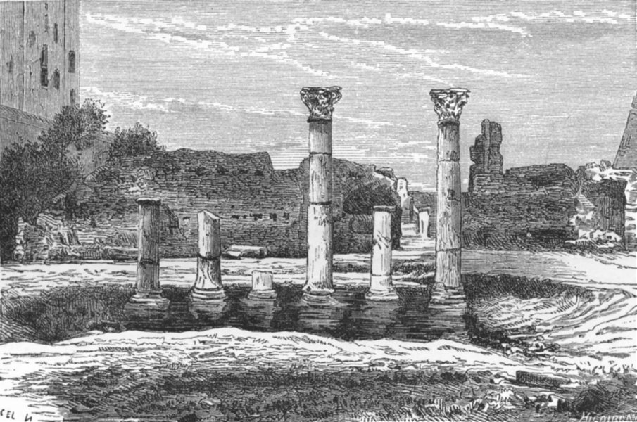 Associate Product ROME. Remains of Library Public Palace 1872 old antique vintage print picture