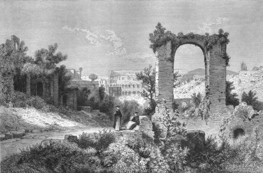 Associate Product ROME. View from Palatine, towards Coelian 1872 old antique print picture