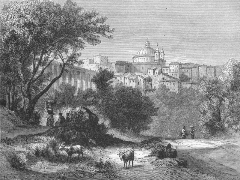 Associate Product ROME. Ariccia and its Viaduct 1872 old antique vintage print picture