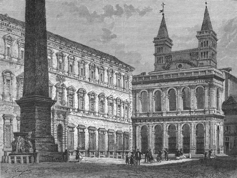 Associate Product ROME. The Piazza of St John Lateran 1872 old antique vintage print picture
