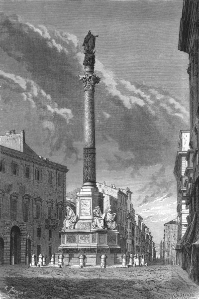 Associate Product ROME. Column of the Immacolata 1872 old antique vintage print picture