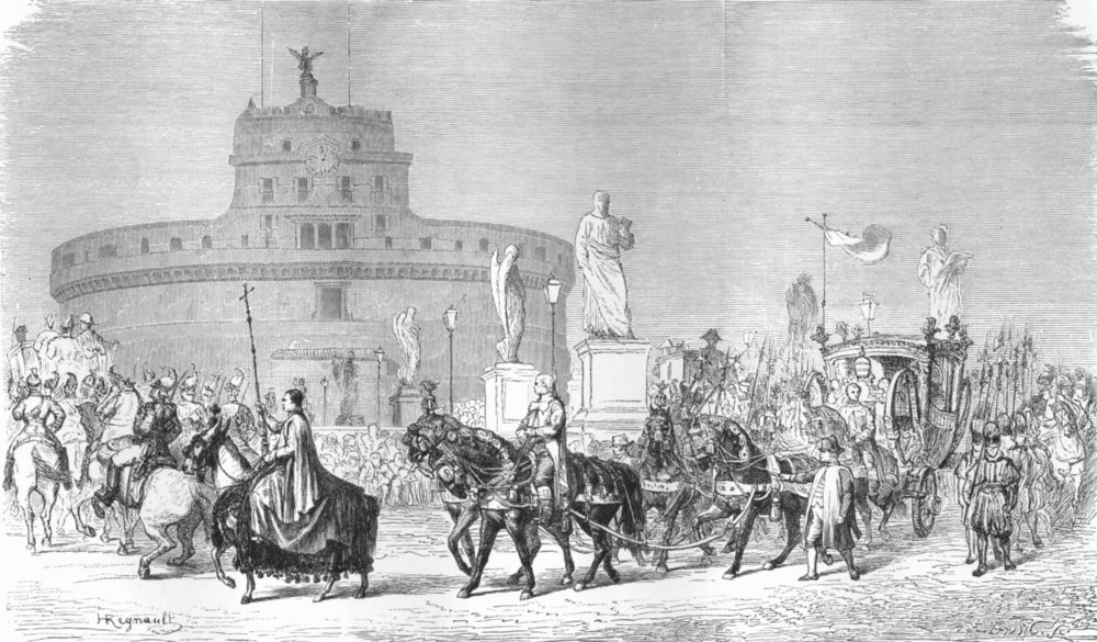 Associate Product ROME. Pontifical parade, feast of Madonna 1872 old antique print picture