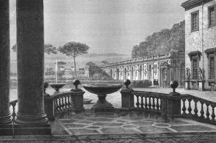 Associate Product ROME. View from Portico of Academy 1872 old antique vintage print picture
