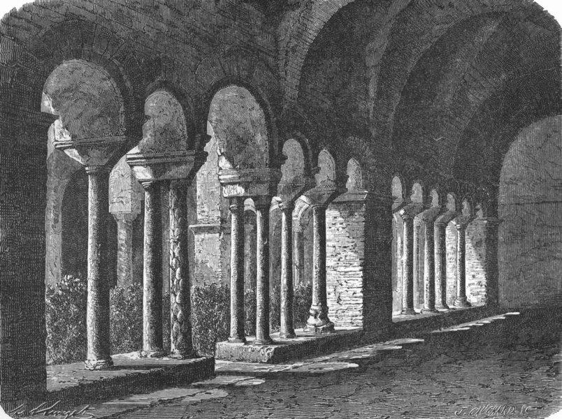 Associate Product ROME. Cloister of San Lorenzo fuori le Mura 1872 old antique print picture