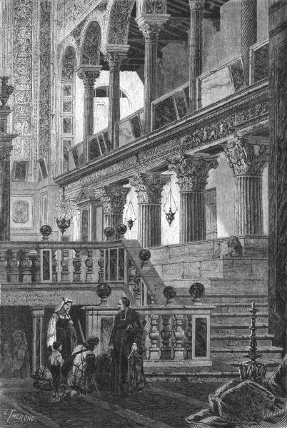 Associate Product ROME. Transept & Confessional of San Lorenzo 1872 old antique print picture