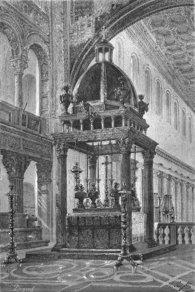 Associate Product ROME. View, back of Choir, San Lorenzo 1872 old antique vintage print picture