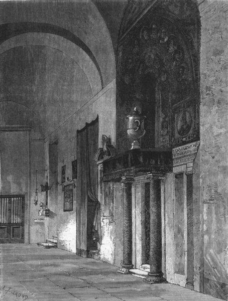 ROME. Door of Colonna Chapel, Prassede 1872 old antique vintage print picture