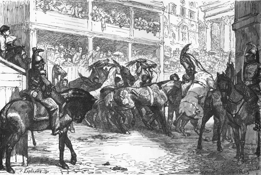 Associate Product ROME. Race of the Barberi. the start 1872 old antique vintage print picture