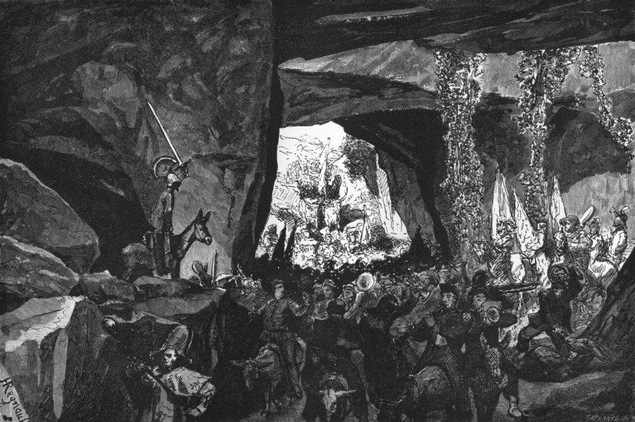 Associate Product ROME. German Fete. Grottoes 1872 old antique vintage print picture