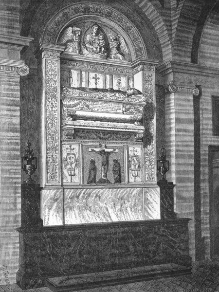 Associate Product ROME. William Rocca tomb(Sta Maria Del Popolo) 1872 old antique print picture
