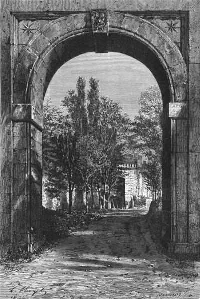 Associate Product ROME. Arch of Acqua Felice, Tiburtine gate 1872 old antique print picture