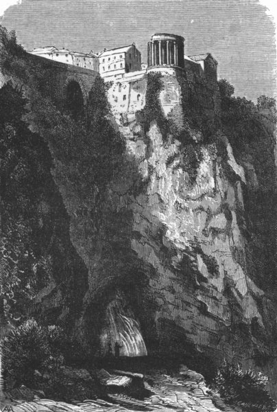 ROME. Ravine. Temple of Hercules, Sibyl 1872 old antique vintage print picture