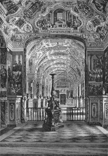 Associate Product VATICAN. Gt Gallery of Library 1872 old antique vintage print picture