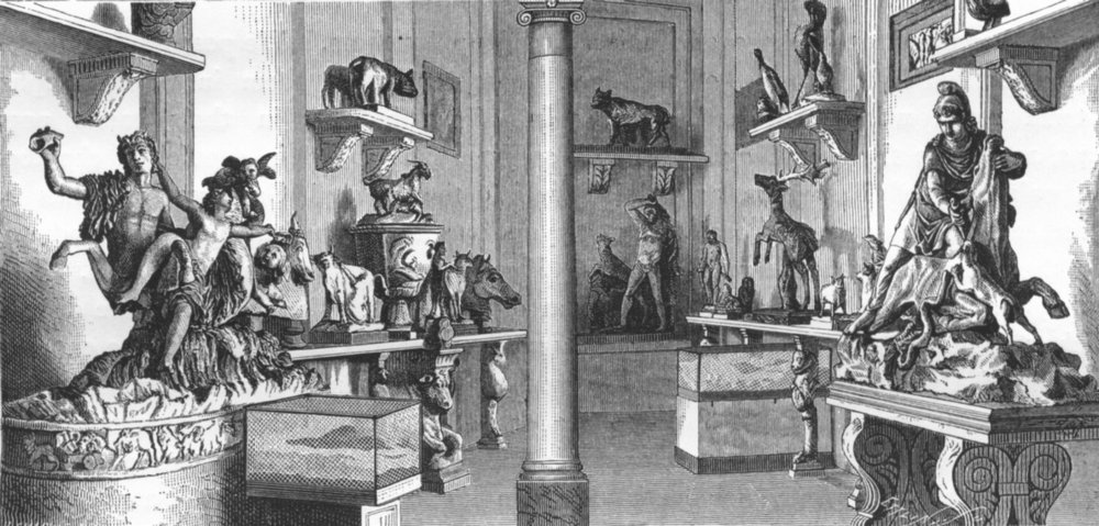 Associate Product VATICAN. Hall of animals(Museo Pio-Clementino) 1872 old antique print picture