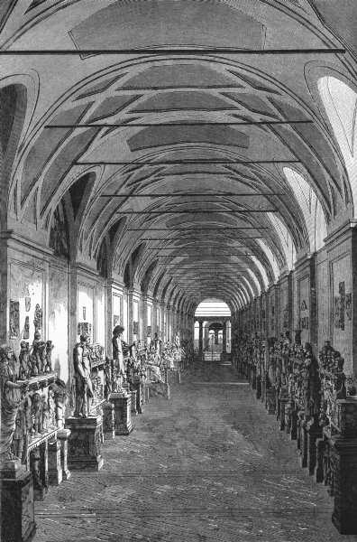 VATICAN. The Chiaramonti Gallery 1872 old antique vintage print picture