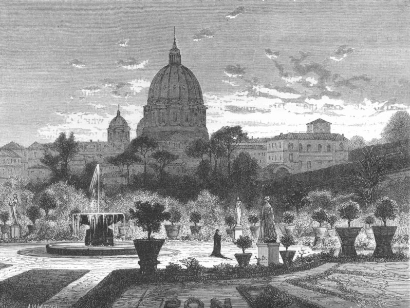 Associate Product VATICAN. Gardens of the Vatican 1872 old antique vintage print picture