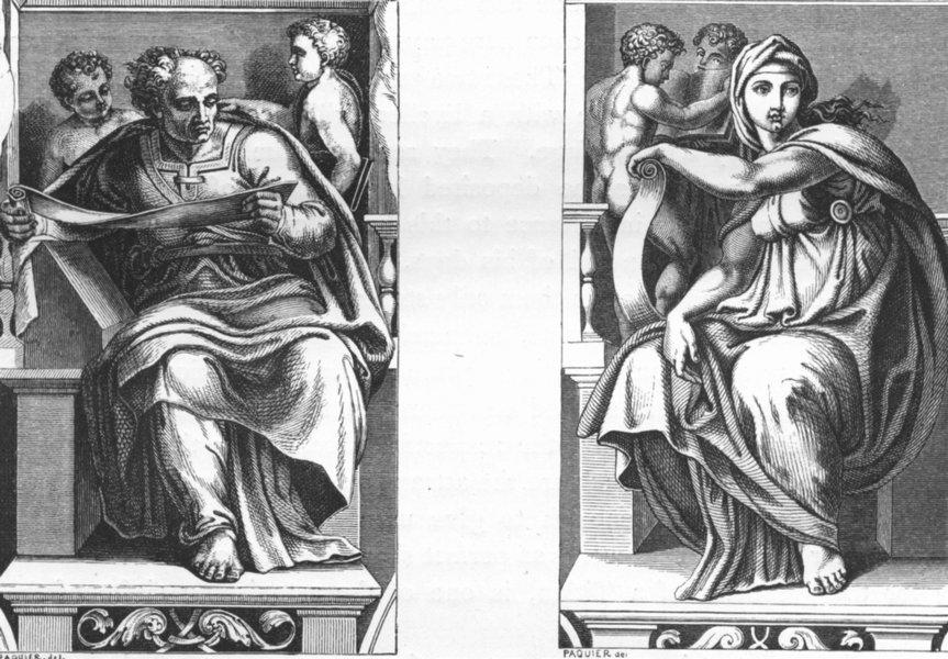 Associate Product VATICAN. Prophet Joel(Sistine ceiling)Delphic Sibyl 1872 old antique print