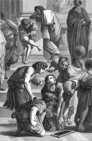 GREECE. School of Athens(Gallery Della Segnatura) 1872 old antique print