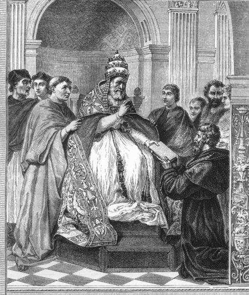 Associate Product VATICAN. Gregory IX, Decretals-Camera Segnatura 1872 old antique print picture