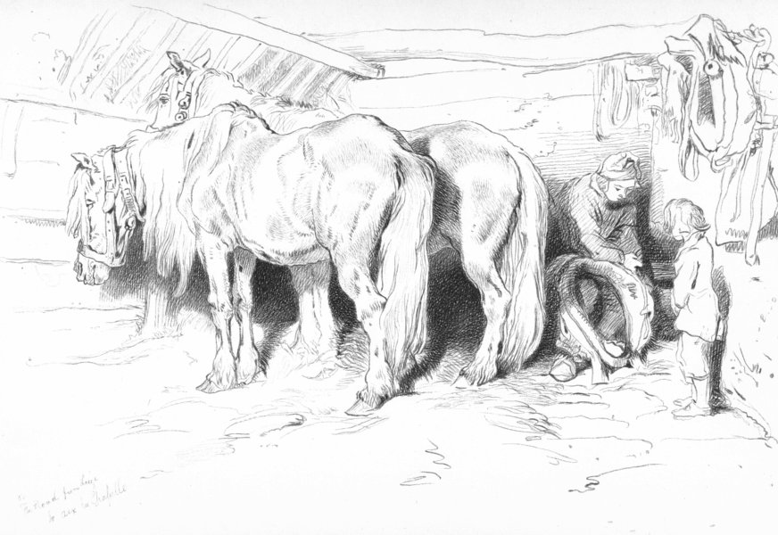 Associate Product HORSES. The Stable-Landseer c1880 old antique vintage print picture