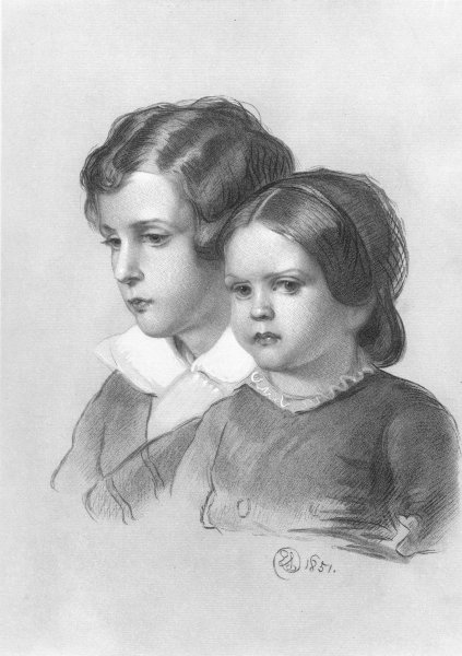 Associate Product CHILDREN. Lad and Lassie-Landseer c1880 old antique vintage print picture
