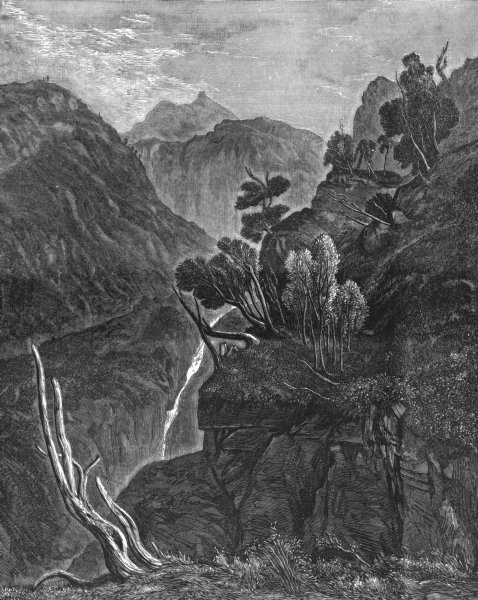 Associate Product MOUNTAINS. Mountain Stream-Landseer c1880 old antique vintage print picture