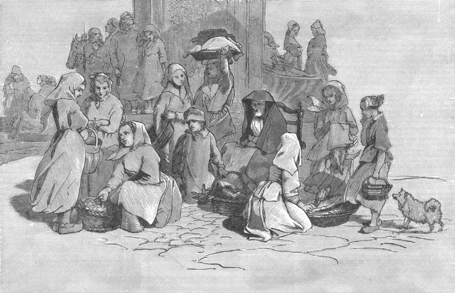 Associate Product GERMANY. Market. Aix-la-Chapelle-Landseer c1880 old antique print picture