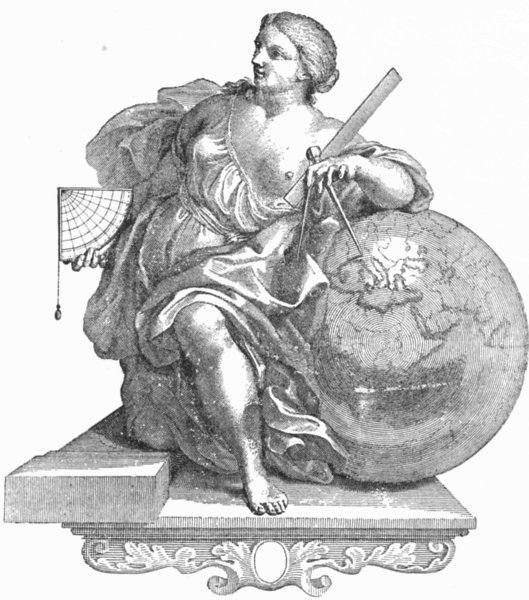 Associate Product VENICE. Lady with globe & navigational equipment 1880 old antique print