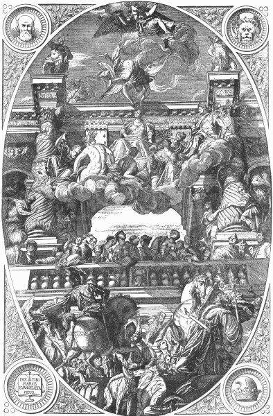 Associate Product VENICE. Triumph of, Veronese(Ducal Palace ceiling) 1880 old antique print