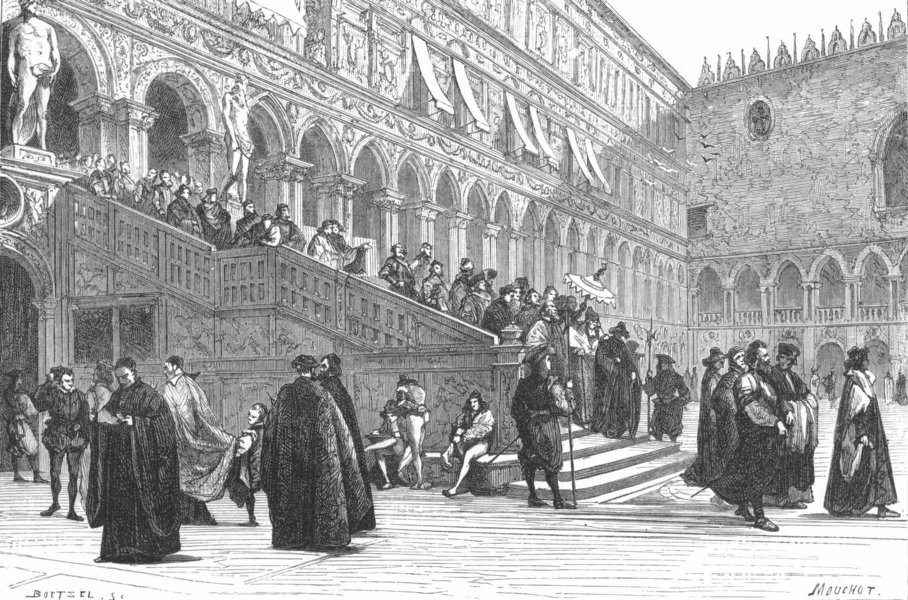 Associate Product VENICE. Doge, Giants stairs-Ducal Palace 1880 old antique print picture