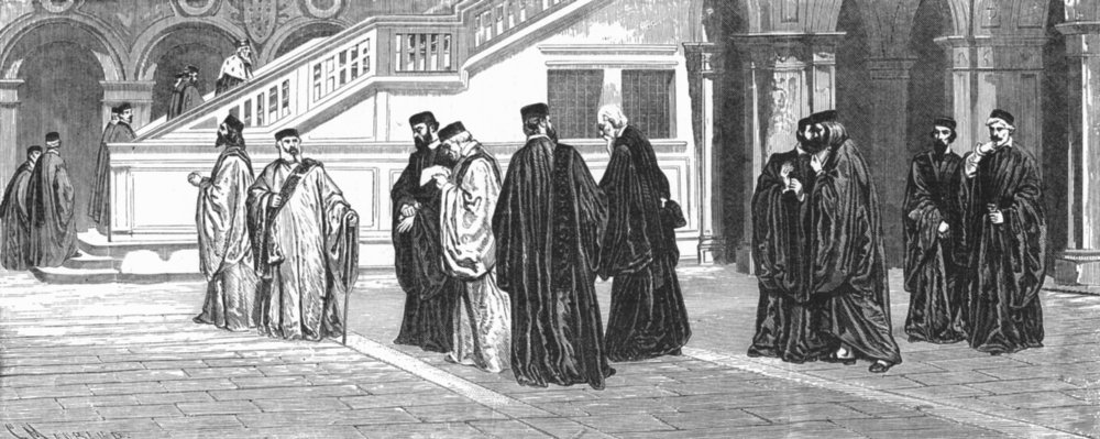 Associate Product VENICE. Tribunal of council 10 going to Session 1880 old antique print picture