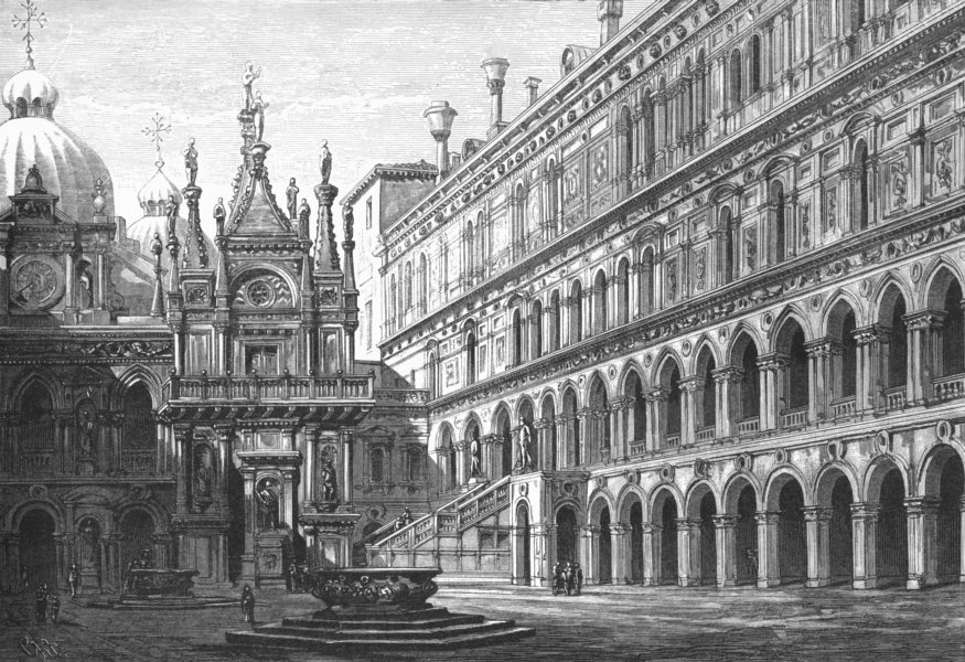 Associate Product VENICE. Court of the Ducal Palace 1880 old antique vintage print picture