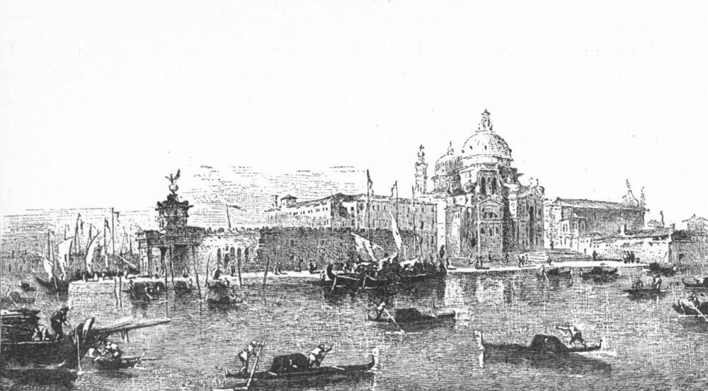 Associate Product VENICE. Dogana, Sta Maria Della Salute church-Guardi 1880 old antique print