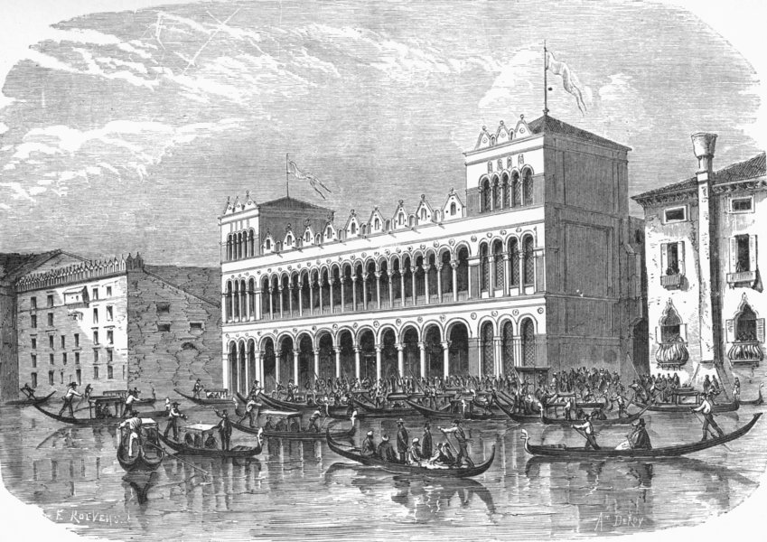 Associate Product VENICE. Fondaco dei Turchi-Grand Canal 1880 old antique vintage print picture